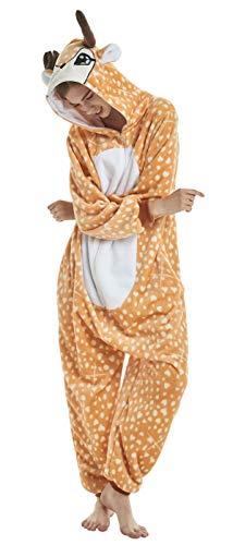 FunnyCos Einteiler für Erwachsene, Tier-Pyjama, Unisex, Halloween, Cosplay, Kostüm, Loungewear Gr. S(Höjd 147/157 cm), reh / hirsch