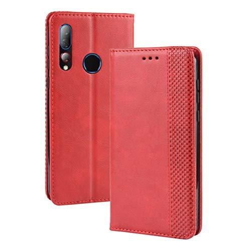 MOONCASE HTC Desire 19+ Hülle, Premium Leder Hülle Flip Hülle Schutzhülle mit Kartenfach & Ständer Handyhülle für HTC Desire 19+ - Rot