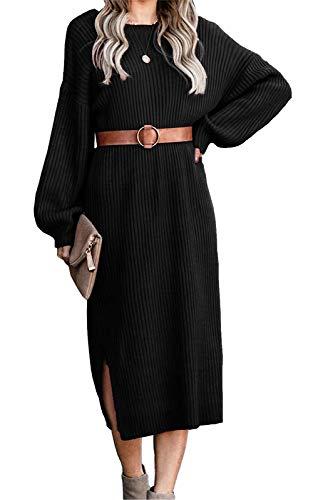 Ancapelion Minivestido de manga larga para mujer, de cuadros con cuello alto, vestido de punto, de corte evasé, suelto, para otoño e invierno Negro S