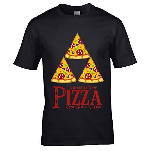 Sticker Licker Grappige spelers The Legend of Pizza Speel Computer Motief Zelda Parodie Geek Spellen Vaderdag of verjaardag zwart mannen Top T-shirt