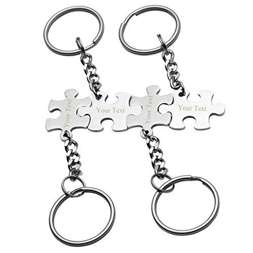 Zysta Personalized Gravur- 4 Stück Edelstahl Paar BFF Schmuck Set Partner Schlüsselanhänger mit Puzzle Anhänger Silber