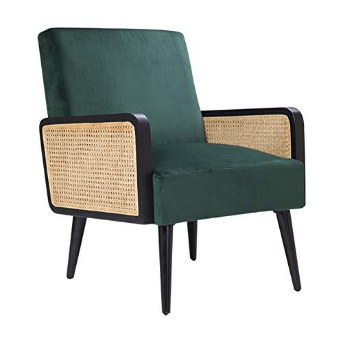 Loungesessel Samt mit Rattan Armlehne Relaxsessel Einfach zu Installierender Polsterstuhl für Wohnzimmer und Schlafzimmer Balkon Sessel Holz Modern Samt Stuhl bis 150 kg Grün 64.5W X 74D X 83H cm