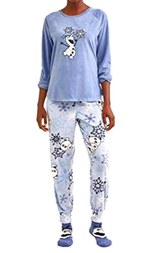Disney Women's Olaf from Frozen Plush Velour 3-Piece Sleepwear Pajama Set