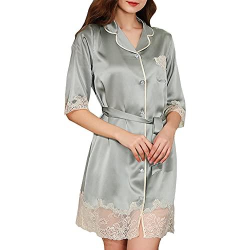 Valin Damen Grün Spitze 100% Seide Nachthemd Nachthemd Pyjama Top Nachtwäsche Kurzarm 19 Momme Seidenpyjama,L,S5670
