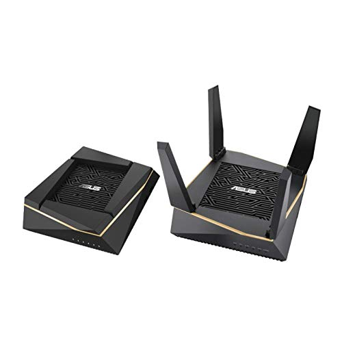 Asus Ai Mesh WLAN System (RT-AX92U, 2in1 Set, WiFi 6 für Mesh-Backbone, WiFi 1-5 für Client-Verbindung, 4x Gigabit LAN, App Steuerung, unterbrechungsfreies Roaming, AiProtection)