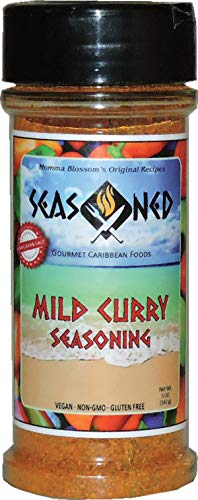 MILD CURRY GOURMET SEASONING, ALL NATURAL, LOW SODIUM, MADE WITH HIMALAYAN SALT, BEST FLAVORS OF THE CARIBBEAN, ENHANCE THE FLAVORS OF SEAFOOD, MEAT, VEGETABLES AND MORE!