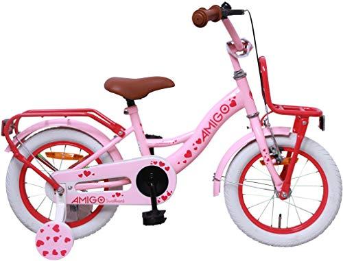 AMIGO - Sweetheart - kinderfiets - 14 inch (voor 3-4 jaar) - met stabilisatoren - roze