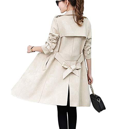 TJOIREJ Windbreaker Mantel Damen Slim Lange Trenchcoats DamenMäntel, Apricot, XL