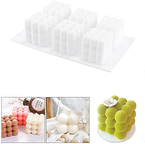 SNAGAROG 1 molde de vela de burbujas, molde de silicona de 6 cavidades 3D, forma de cubo, moldes antiadherentes, bolas mágicas de burbujas para pasteles, postres, jabón, gelatina, muffin (blanco)