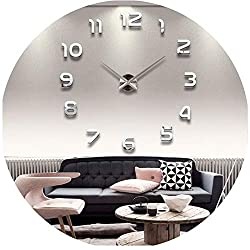 be-my-guest 3D Real Big Wall Clock Rushed Mirror Wall Sticker Living Room Home Decor Fashion Watches Arrival Quartz Large Wall Clocks,Silver,27Inch