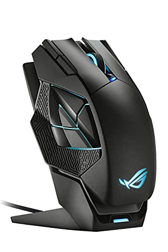 ASUS ROG Spatha X Wireless Gaming Mouse (Magnetic Charging Stand, 12 Programmable Buttons, 19,000 DPI, Push-fit Hot Swap Switch Sockets, ROG Micro Switches, ROG Paracord and Aura RGB Lighting)