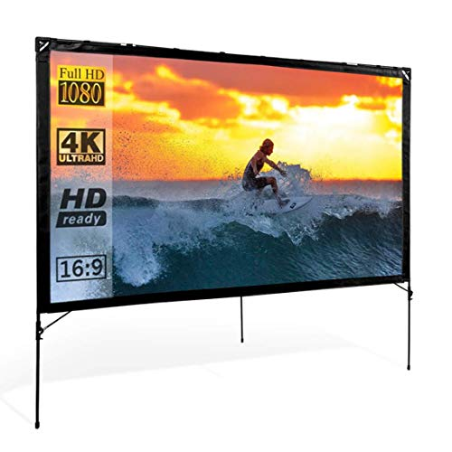 Modern Innovations Outdoor Video Projector Screen with Stand 80 Inches - On-The-Go Movie Screen for...