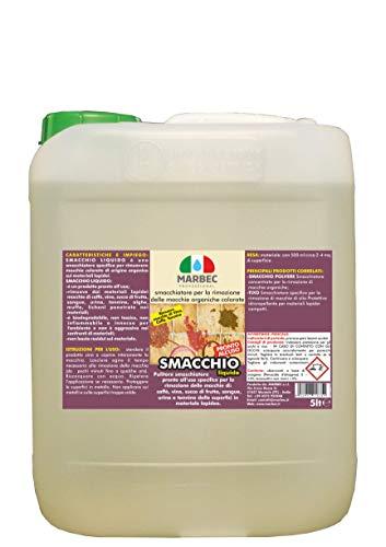 Marbec - SMACCHIO Liquido 5LT | Smacchiatori Pronto all'Uso specifico per la rimozione delle Macchie di: caffè, Vino, Succo di Frutta, Sangue, tannino, alghe per Pavimenti e Rivestimenti.