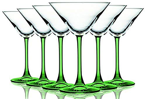 Light Green Accent Stem 10 oz Martini/Cocktail Wine Glasses