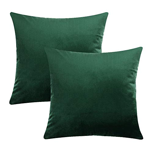COWORK Velvet Soft Cushion Cover Throw Pillow Case Decorative Square Sofa Pillowcase for Home Xmas Decor Favor, 18 x 18 inch / 45 x 45 cm with Invisible Zipper, Set of 2(Dark Green)