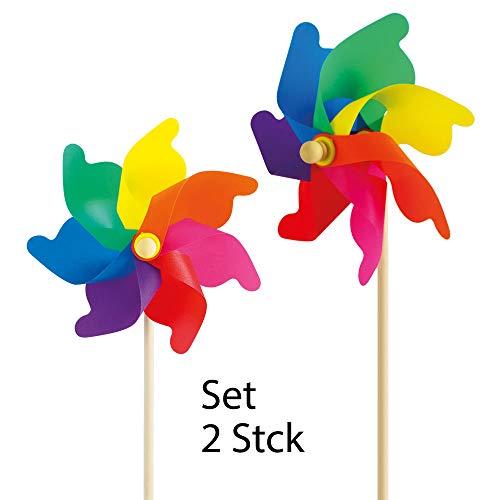 CIM Windspiel - Moulin 31 - UV-beständig und wetterfest - Windrad: Ø31cm, Standhöhe: 75cm - fertig aufgebaut inkl. Standstab (2er Set Rainbow)