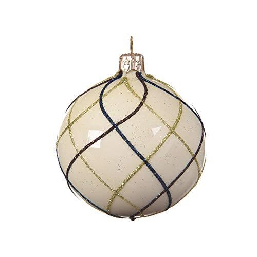 Kaemingk Lot de 3 boules de Noël rondes en verre soufflé à la main Motif sapin de Noël Bleu pastel 3 à 8 cm