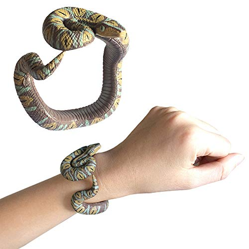 GFQTTY Toy Schlange-Armband, Gefälschte Snake-Handgelenk-Band Scary Boshaftes Neuheit Schlange-Armband Spielzeug Für Halloween Party Supplies Schabernack Spielzeug,Brown Python