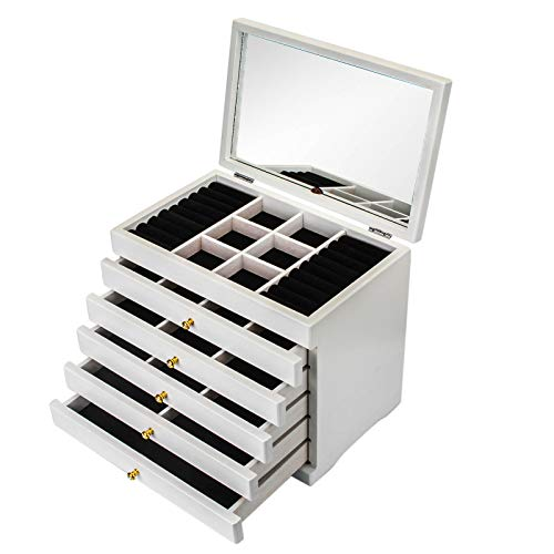 Apstour Mirrored Jewellery Box, Jewellery Organiser, Large Jewellery case, with 6 Layers and 5 Drawers,with Glass Lid, Gift for Birthday,Christmas (White)