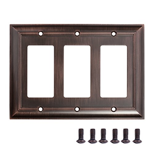 Amazon Basics Triple Gang Light Switch Wall Plate, Oil Rubbed Bronze, 1-Pack