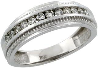 14Kホワイトゴールド12-stone MilgrainデザインLadies 'ダイヤモンドリングバンドW / 0.31カラットブリリアントカットダイヤモンド、1/ 4in。( 6mm )幅、サイズ9.5