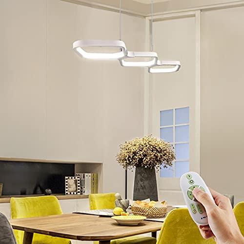 Lampara de Techo LED Colgante Salon Anten DARIO | Regulable con mando a distancia 30W 3000LM 3000-6000K | Función de memoria | Lámpara Moderno para Mesa de Comedor, Sala, Restaurante, Bar, Cafetería
