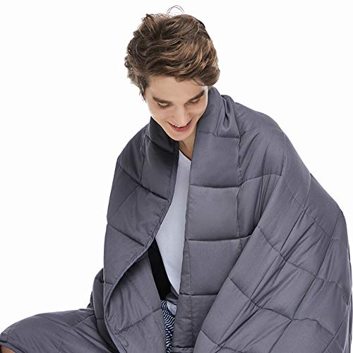 ZonLi Adults Weighted Blanket 20 lbs(60''x80'', Grey, Queen Size), Cooling Weighted Blanket for...