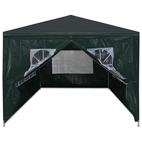 Tidyard Gazebo da Giardino, 3 x 6 m, 4 Pareti Laterali/1 Porta con Chiusura Lampo/Staffe di Acciaio/PE/Pieghevole/Impermeabile, Verde