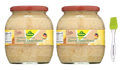 Kuhne Barrel Sauerkraut 28oz (2 Pack) Bundled with Prime Time Direct Silicone Basting Brush in a PTD Sealed Box