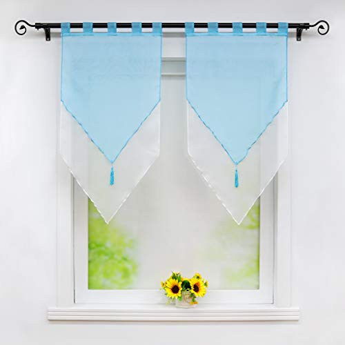 Joyswahl - Tenda a pannello in voile, con nappa, bicolore, modello Lydia, doppio strato con passanti, 60 x 120 cm, colore: Blu/Bianco