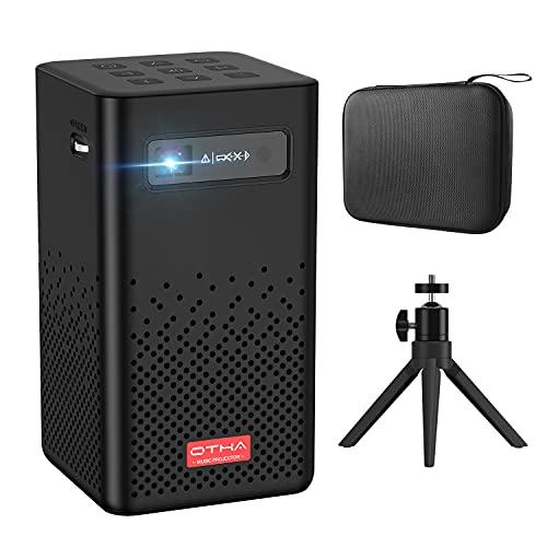 OTHA Mini Beamer, DLP Beamer Android 9.0, 150ANSI Lumens Heimkino Projektor Unterstützung 1080P, WiFi, HDMI, Bluetooth, Eingebauter Akku Stereo-Lautsprecher, Travel Beamer mit Tragetasche und Stativ