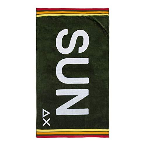 SUN68 X19110-19 Beach Towel Logo Telo Mare 100% Cotone Military Green