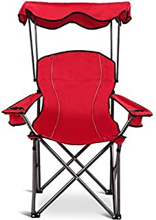 Goplus Folding Beach Chair w/Canopy Heavy Duty Camping Chair Durable Outdoor Seat w/Cup Holder and Carry Bag