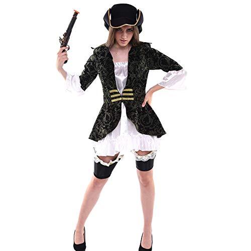 disfraz de Halloween Disfraz de Halloween - Poliéster, traje de pirata de mujer del Caribe adulto, adecuado para las representaciones festivas, fiestas COS, Halloween - Una variedad de estilos para el