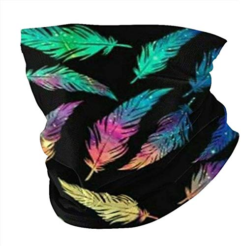 Colrofu Feather Multifunctional Headwear Face Cover Headband Neck Gaiter Bandanas for Dust, Outdoors, Festivals, Sports-one_color-