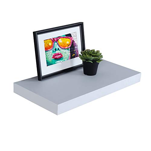 WELLAND 12' Deep White Floating Shelves, Wall Shelf Display Floating Shelf, 23.62' L x 11.81' D x 2' T, Deeper Than Others, White
