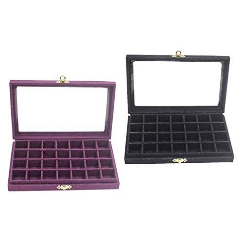 freneci 2X Almacenamiento de Cuentas Caja de Vidrio Y Madera Maciza de Lujo Caja de Lino de 28 Cuadrículas Pantalla de Reloj
