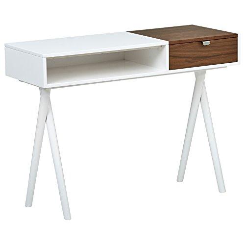 Amazon Marke -Rivet Moderner Computerschreibtisch mit gekreuzten Beinen für das Arbeitszimmer, Weißer Lack mit Holzakzent, L 106cm, Weiß glänzend und   Nussbaum
