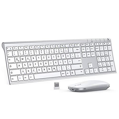 Jelly Comb Kabellose Tastatur und Maus Set 24G Wireless Ultra Dunn Tastatur und Flache Maus Wiederaufladbare Funktastatur mit Deutschem Layout fur PC Laptop Smart TV Weis und Silber