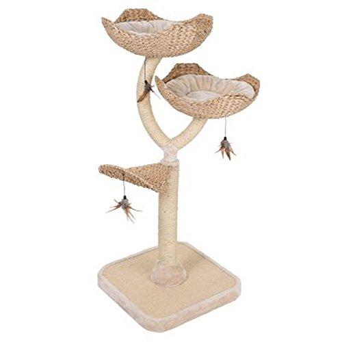 Schicker Kratzbaum für Katzen in Blumenform mit Schlafplätzen und mit Sisal umwickelten Säulen, Kratzmatte