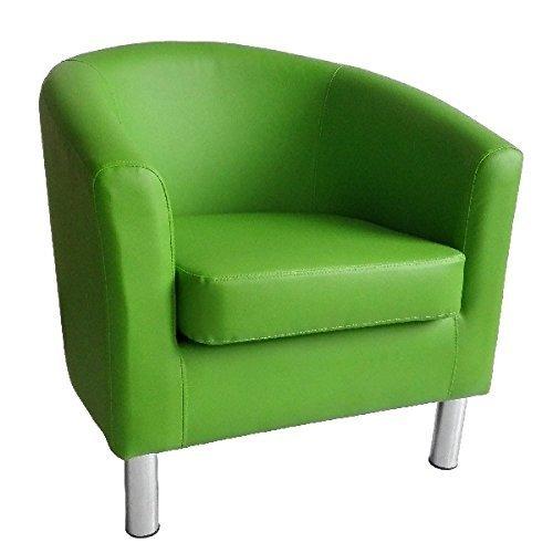 Moderner Sessel aus Kunstleder mit Chrom-Beinen für Zuhause, Esszimmer, Wohnzimmer, Lounge, Büro, Empfang, Grün