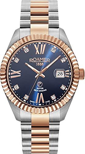 Roamer Primeline Crystal 981661 47 49 90 - Reloj de pulsera automático para hombre (40 mm, 3 manecillas, ventana de fecha, acero inoxidable)