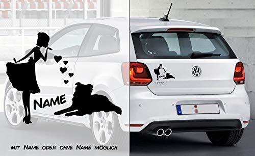 Prinzessin Border Collie Herz | Hund | Wunschtext | Auto Aufkleber | Decal | Name