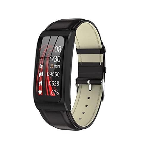 ZFF Pulsera Deportiva - Banda Inteligente Relojes de Color Mujeres Salud Deportes Pulsera Impermeable Smart Pulsera Correa Pulsera Smart Relojes (Color : Leather Black)