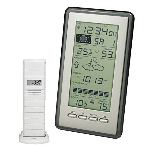 Technoline WS 9040-IT klassische Wetterstation mit Temperaturanzeige, Vorhersage von Wettersituation, Anzeige von Wettertendenz, inklusive mit Außensender TX29 DTH-IT, silber, 21,6 x 11,4 x 7,8 cm