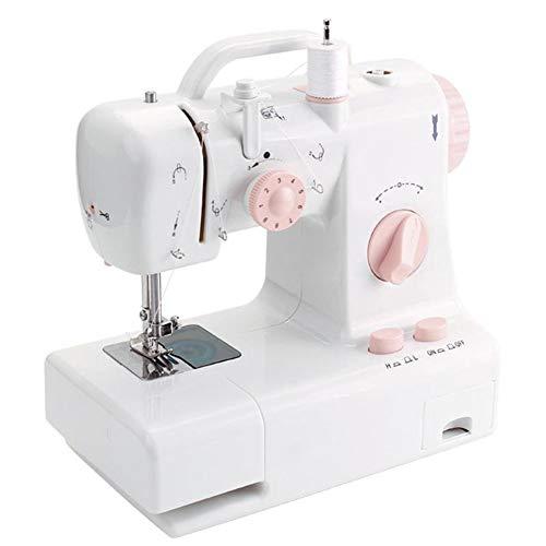 SEGIBUY Mini draagbare elektrische naaimachine instelbare 2-versnellingen-reparatiemachine met voetpedaal werklamp voor beginners en volwassenen