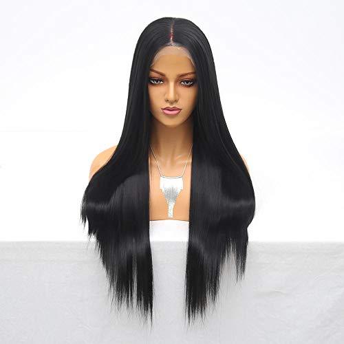 QuRRong Perruque Femmes Long Full Frontal Dentelle Noire Cheveux Micro Torsades Pleine Gradient de densité Perruque pour Le Concours de déguisements (