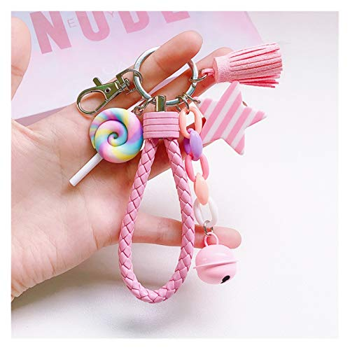 Jfsmgs Couple Keychains New Lovely Cute Rainbow Key Chain Leather Strap Braided Rope Tassel Keychain for Women Girl Bell Star Lollipop Bag Charm Pendant (Color : 2)