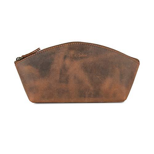 LONDO Bolso de cuero genuino versátil estilo góndola – Cosmético, aseo, maquillaje, bolsa organizadora de afeitado, kits Dopp – unisex