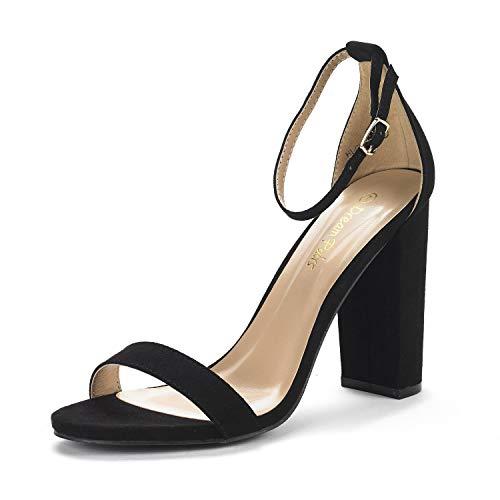DREAM PAIRS Women's Hi-Chunk Black Suede High Heel Pump Sandals - 6 M US